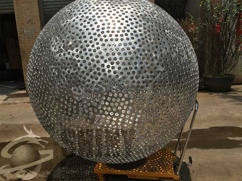 Perforated Aluminum Sphere Shiny Fire Pit Ball And Steel