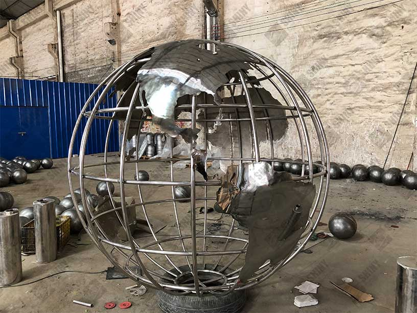 Stainless Steel Globes Sculptures Steel Spheres Steel